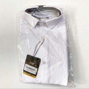 Kids white long sleeve button up collared shirt
